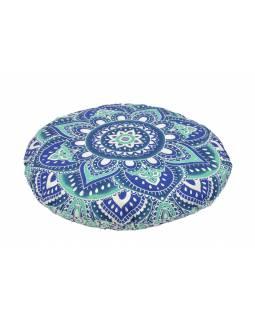 Meditační polštář, kulatý, modro-tyrkysová mandala, 80x20cm