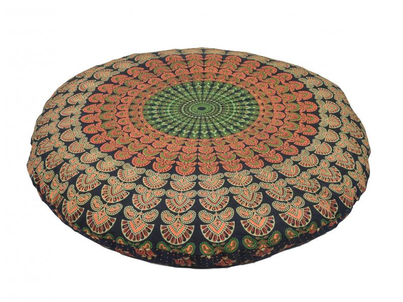 Meditační polštář, kulatý, modro-červený, 80x20cm