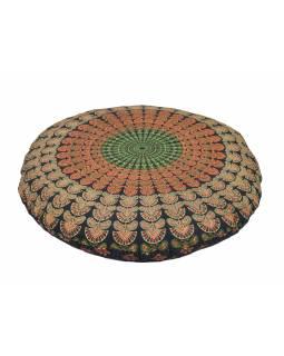 Meditační polštář, kulatý, modro-červený, 80x10cm
