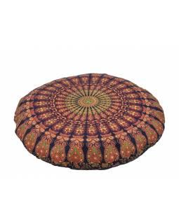 Meditační polštář, kulatý, modro-červený, mandala paví pera, 80x20cm