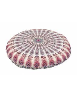 Meditační polštář, kulatý, bílo-růžový, mandala paví pera, 80x10cm