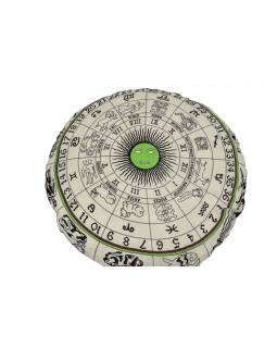 Meditační polštář, kulatý, bílo-zelený, potisk zvěrokruh, 80x10cm