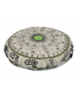Meditační polštář, kulatý, bílo-zelený, potisk zvěrokruh, 80x20cm
