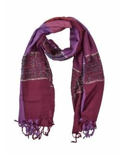 Šátek, čtverce, pruhy, třásně, odstíny fialové, 56x190cm