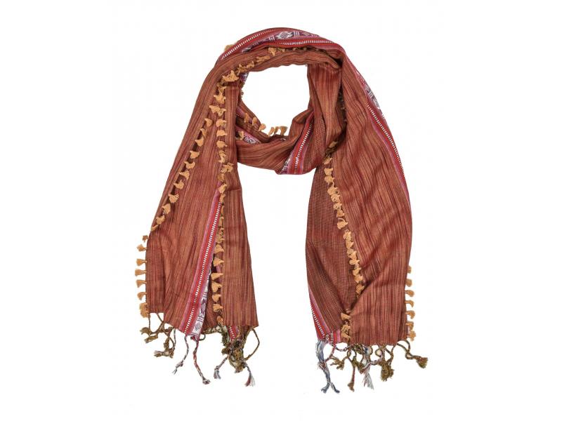 Šátek, vínový, proužky a vzorkem, viskóza, střapečky, 50x190cm