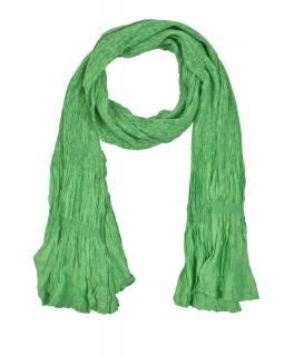 Šátek, jednobarevný, žabičkování, zelený, hedvábí s elastanem, 26*160cm