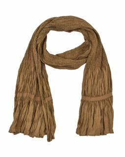Šátek, jednobarevný, žabičkování, hnědý, hedvábí s elastanem, 26*160cm