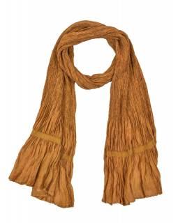 Šátek, jednobarevný, žabičkování, světle hnědý, hedvábí s elastanem, 26*160cm