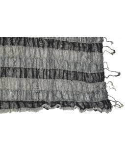 Šátek, wrap proužky, elastický, černo-šedý, třásně, bavlna, 58x160 až 180cm