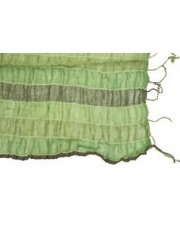 Šátek, wrap proužky, elastický, odstíny zelené, třásně, bavlna, 58x160 až 180cm
