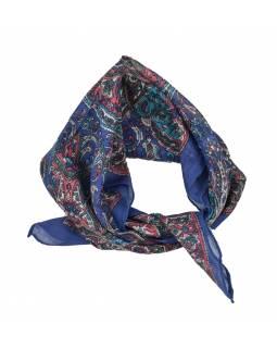 Šátek, čtvercový, modrý, barevný paisley tisk, bavlna, 50x50cm