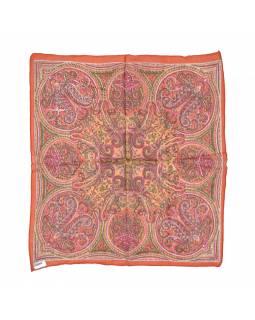 Šátek, čtvercový, oranžový, barevný paisley tisk, bavlna, 50x50cm