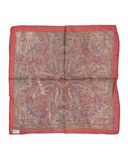 Šátek, čtvercový, červený, barevný paisley tisk, bavlna, 50x50cm