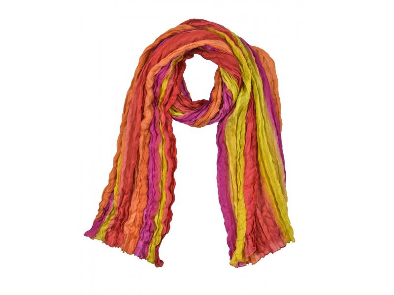 Šátek, hedvábí, batika, mačkaná úprava, 4 barvy 110x180cm