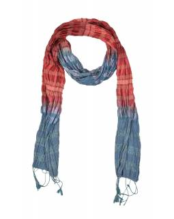 Šátek, hedvábí, barevný, lurex, žabičkování, třásně, 160*23 až 50cm