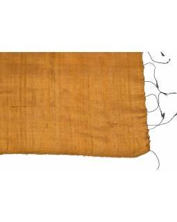Měděný šátek z hrubého hedvábí, třásně, 66x190cm
