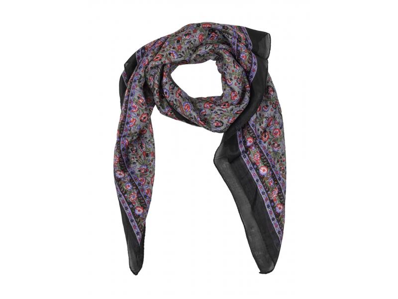 Šátek z hedvábí, čtverec, drobný potisk květin, černý, 100x100cm