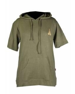 Konopné pánské khaki tričko s kapucí, výšivka stupa, kapsa na břiše