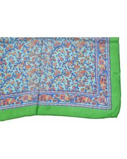 Šátek z hedvábí, čtverec, drobný potisk květin, zeleno-modrý, 100x100cm
