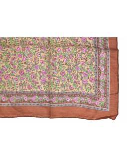 Šátek z hedvábí, čtverec, drobný potisk květin, hnědý, 100x100cm