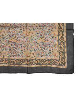 Šátek z hedvábí, čtverec, paisley potisk, černý, 100x100cm