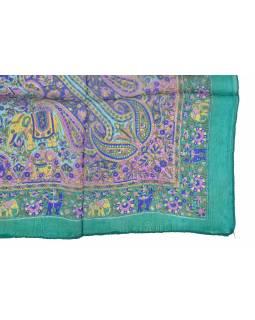 Šátek z hedvábí, čtverec, paisley potisk, smaragdový, 100x100cm