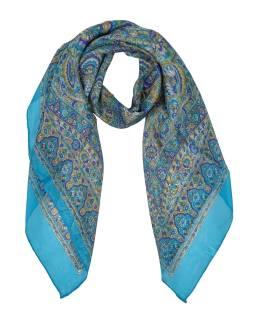 Šátek z hedvábí, čtverec, paisley potisk, tyrkysový, 100x100cm