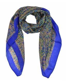 Šátek z hedvábí, čtverec, paisley potisk, modrý, 100x100cm