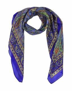 Šátek z hedvábí, čtverec, paisley potisk, fialový, 100x100cm