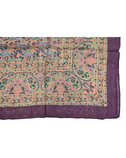 Šátek z hedvábí, čtverec, paisley potisk, vínový, 100x100cm