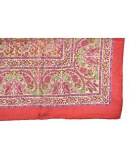 Šátek z hedvábí, čtverec, paisley potisk, červený, 100x100cm