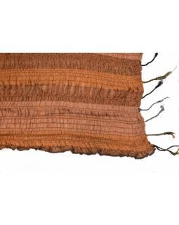 Šála, viskóza, žabičkování, pruhy, oranžovo-černý, pružný 130 až 240x60 cm