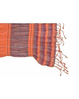 Šála, viskóza s lycrou, barevné proužky, lurex, třásně, pružný 30 až 55x165cm