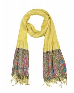 Šátek, viskóza, výšívaný, elastický, paisley, žlutý, třásne, 189x25 až 50cm