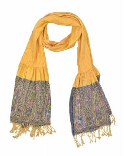 Šátek, viskóza, výšívaný, elastický, paisley, oranžový, třásne, 189x25 až 50cm