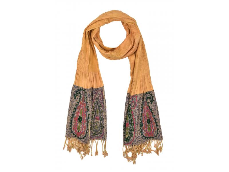 Šátek, viskóza, výšívaný, elastický, paisley, oraznžový, třásne, 189x25 až 50cm