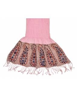 Šátek, viskóza, výšívaný, elastický, paisley, růžový, třásne, 189x25 až 50cm