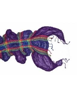 Šála, viskóza s lycrou, žabičkování, multibarevná, čtverce, 200x25 až 50cm