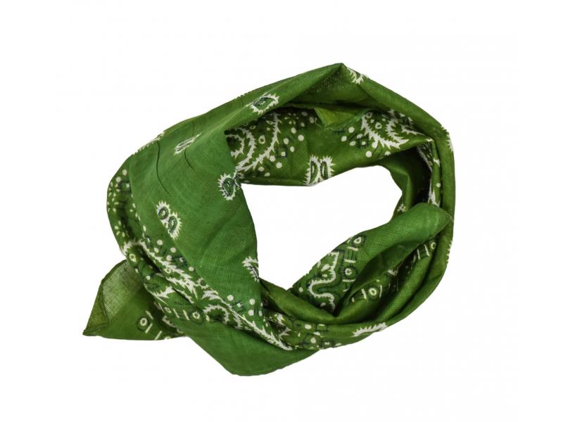 Šátek s bílým paisley potiskem, zelený, 50x50cm
