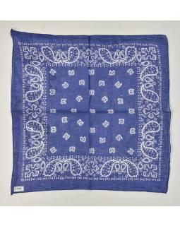 Šátek s bílým paisley potiskem, modrý, 50x50cm