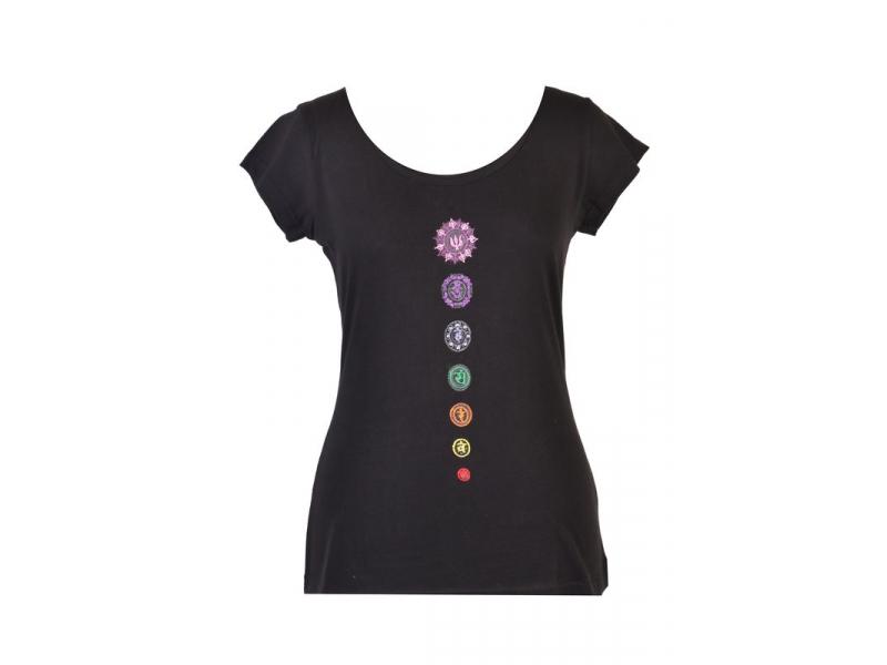 """Černé tričko s krátkým rukávem """"Chakra"""" design a barevná výšivka"""