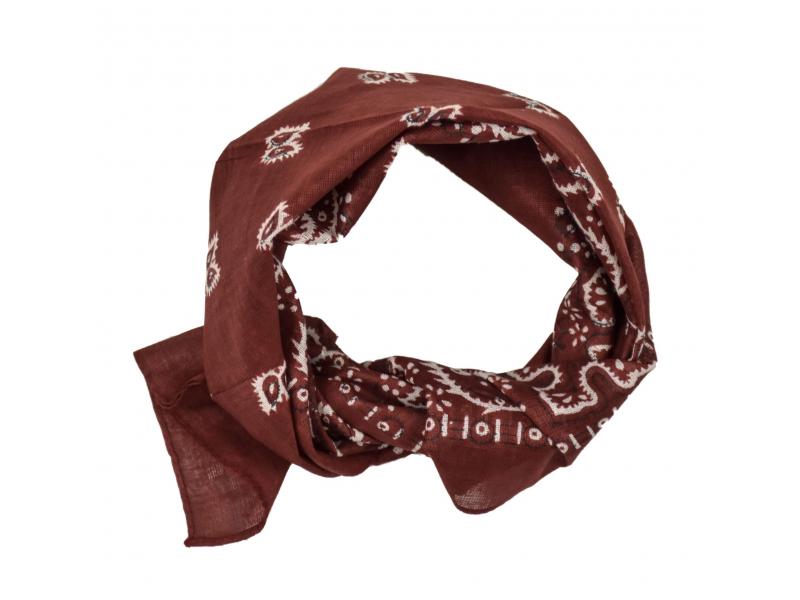 Šátek s bílým paisley potiskem, vínový, 50x50cm