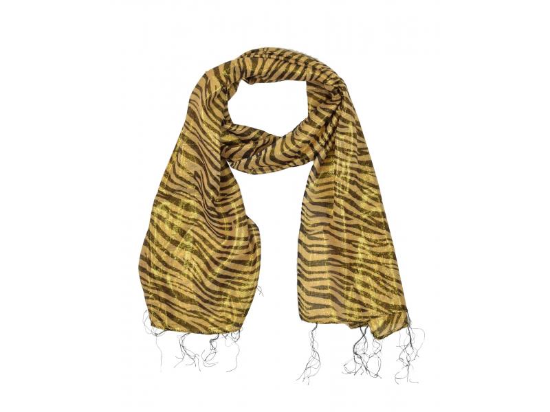 Šátek se zvířecím potiskem, hnědo-béžový, viskóza, zlatý lurex, 45x164cm