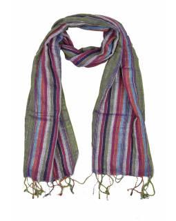 Šátek, barevné proužky, zelený podklad, viskóza, stříbrný lurex, 50x180cm
