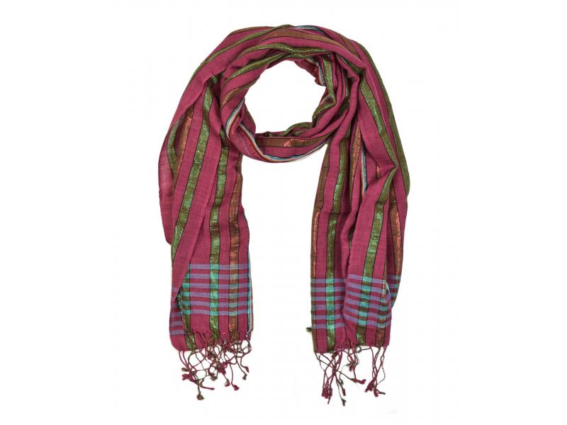Šátek, barevné proužky, vínový podklad, viskóza, barevný lurex, 50x176cm