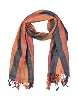 Šátek, barevné proužky, viskóza, stříbrný lurex, třásně, 52x180cm
