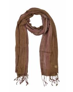 Šátek, hnědý, barevné proužky, viskóza, zlatý lurex, třásně, 48x180cm