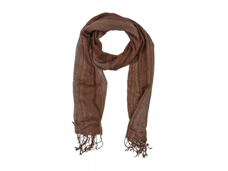 Šátek, hnědý, viskóza, stříbrný lurex, třásně, 49x176cm