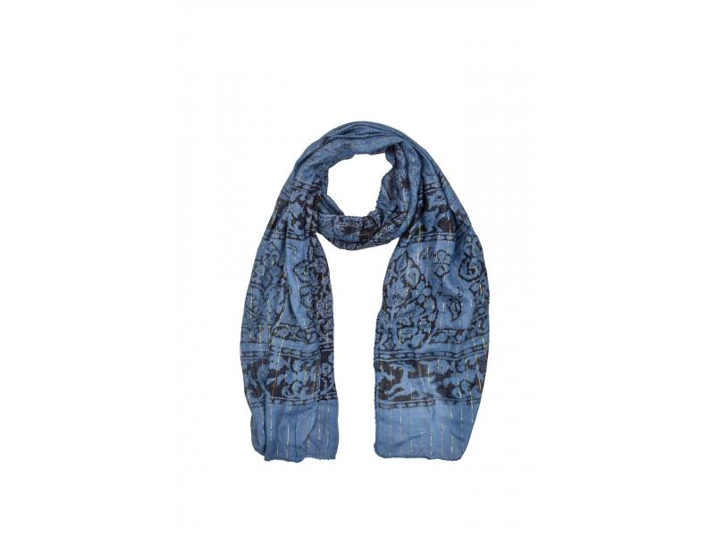 Šátek, modrý, viskóza, černý potisk, zlatý lurex, třásně, 45x180cm