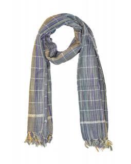 Šátek, barevné proužky, viskóza, stříbrný lurex, třásně, 50x172cm